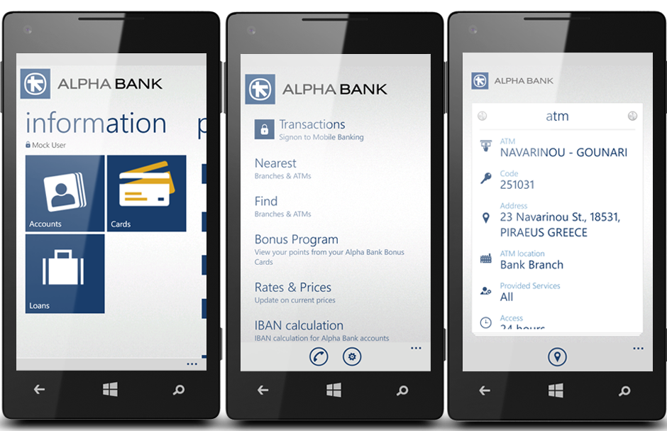 Alpha Bank Windows Phone app